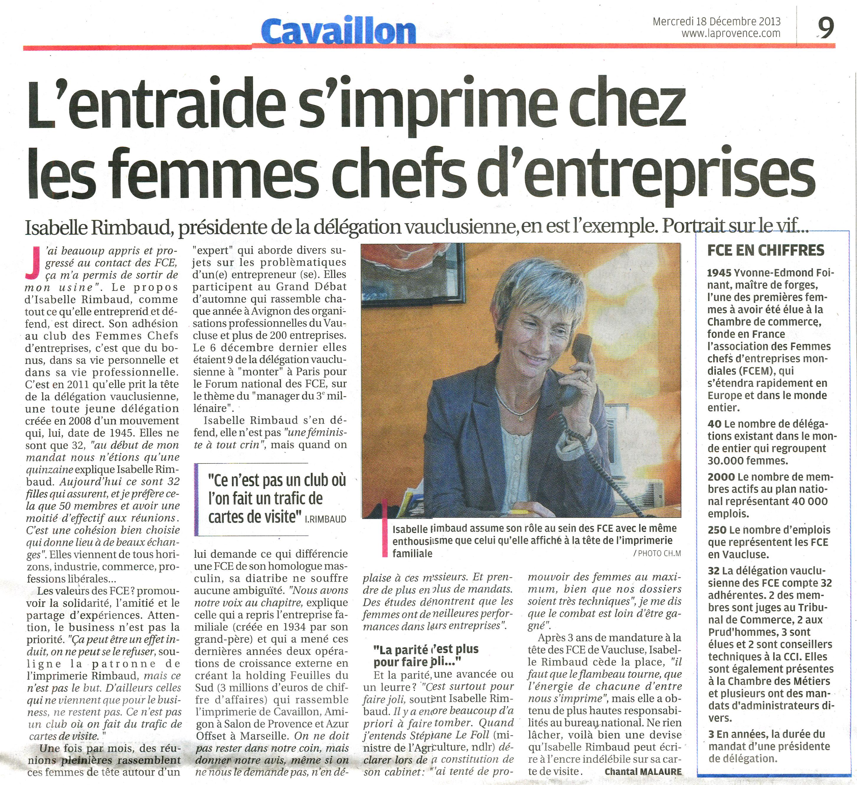 FCE France - Communication - Articles - L'entraide s'imprime chez ... Lire l'article